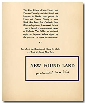 NEW FOUND LAND FOURTEEN POEMS