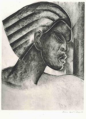 UNTITLED ORIGINAL LITHOGRAPH [HEAD AND SHOULDERS RIGHT PROFILE OF AFRICAN WOMAN]