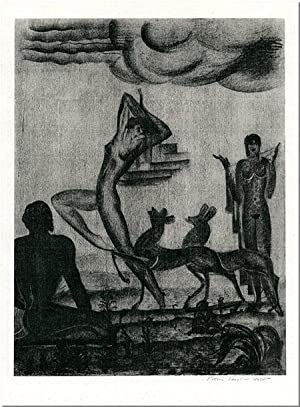 UNTITLED ORIGINAL LITHOGRAPH [TWO WOMEN, A MAN, TWO DOGS, IN A LANDSCAPE]