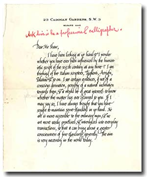 [Calligraphic Autograph Letter, Signed, to George Bernard Shaw, with MS. Query by Shaw]