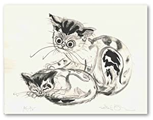[Untitled Lithograph of Mother Cat and Kitten]