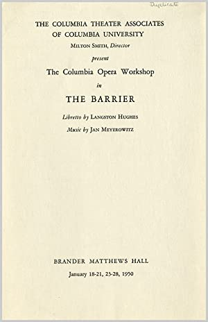[Playbill for] THE COLUMBIA THEATER ASSOCIATES OF COLUMBIA UNIVERSITY PRESENT THE COLUMBIA OPERA ...