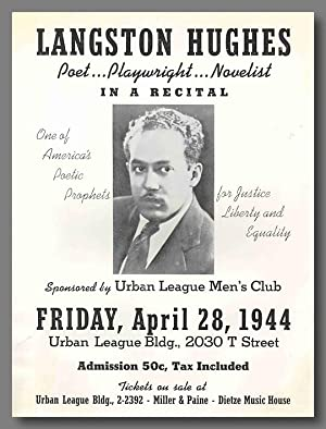 [Pictorial Promotional Broadside for an April 1944 Lecture Appearance:] LANGSTON HUGHES POET . PL...