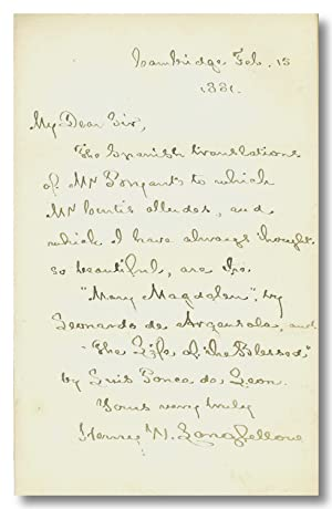 [Autograph Letter, Signed, About W.C. Bryant's Spanish Translations]