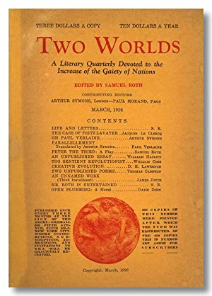 TWO WORLDS A LITERARY QUARTERLY DEVOTED TO THE INCREASE OF THE GAIETY OF NATIONS