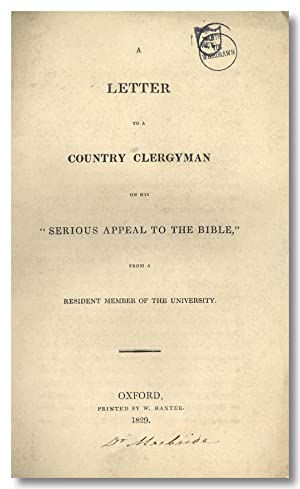 A LETTER TO A COUNTRY CLERGYMAN ON HIS