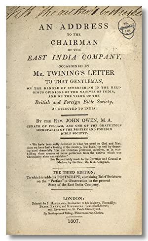 AN ADDRESS TO THE CHAIRMAN OF THE EAST INDIA COMPANY, OCCASIONED BY MR. TWINING'S LETTER TO THAT ...
