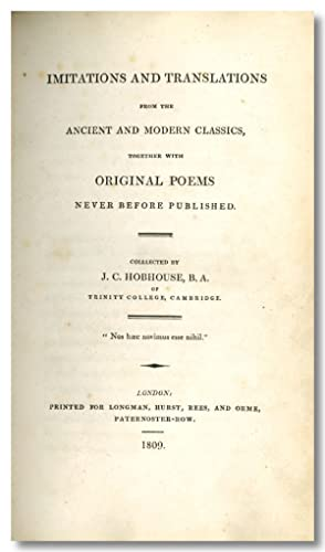 IMITATIONS AND TRANSLATIONS FROM THE ANCIENT AND MODERN CLASSICS, TOGETHER WITH ORIGINAL POEMS NE...