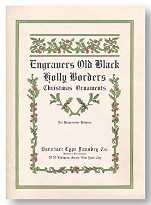 ENGRAVERS OLD BLACK HOLLY BORDERS CHRISTMAS ORNAMENTS FOR PROGRESSIVE PRINTERS