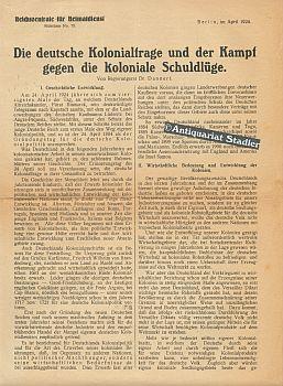 Die deutsche Kolonialfrage und der Kampf gegen die koloniale Schuldlüge. [Kopftitel]. ...