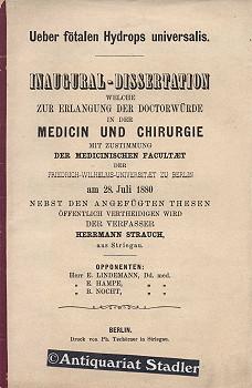 Ueber fötalen Hydrops universalis. Inaugural-Dissertation welche zur Erlangung der Doctorw&...