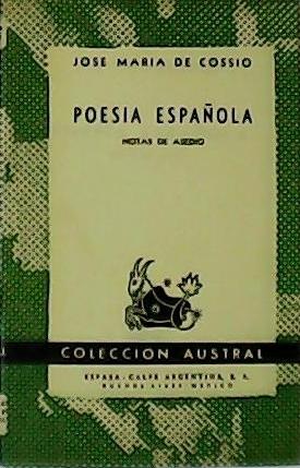 Poesía española. Notas de asedio (Berceo, Cancioneros,: COSSIO, José María