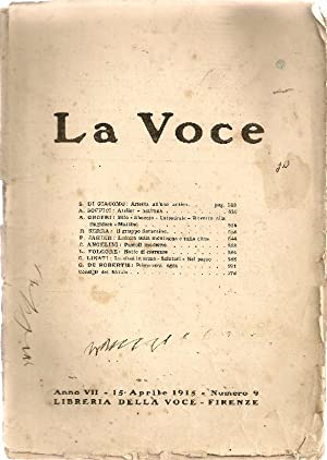 La Voce. 15 Aprile 1915: LA VOCE Diretta