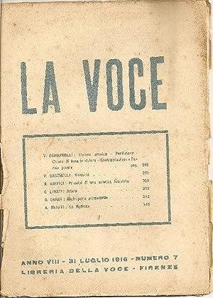 La Voce. 31 Luglio 1916: LA VOCE DIRETTA