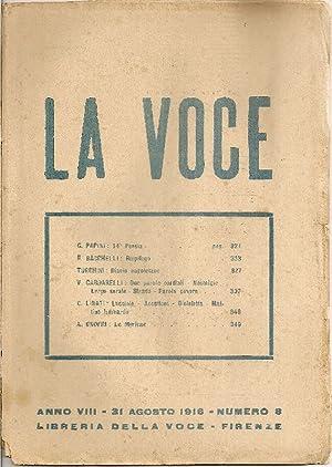 La Voce. 31 Agosto 1916: LA VOCE DIRETTA