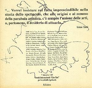 Premio Internazionale Gino Tani per le Arti: PREMIO INTERNAZIONALE GINO