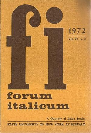 Forum Italicum. June 1972. Special issue. A: FORUM ITALICUM -