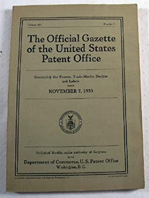 The Official Gazette of the United States Patent Office. Vol. 436, No. 1 - November 7, 1933