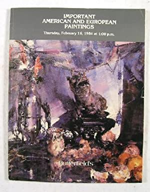 Important American and European Paintings : San: Butterfield & Butterfield