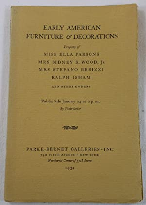Early American Furniture & Decorations. New York: January 1939
