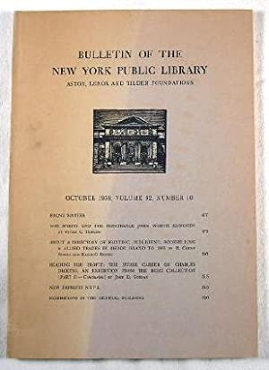 Bulletin of the New York Public Library. October 1958, Volume 62, Number 10