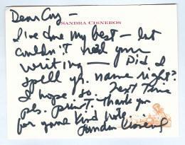 Holograph Note Signed Cisneros, Sandra
