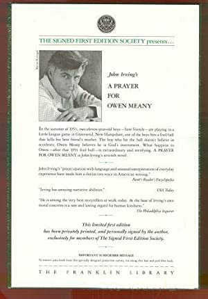 prayer for owen meany essay A prayer for owen meany essay irving's novel, a prayer for owen meany, many events are discussed to the reader about the significant presence of owen meany.