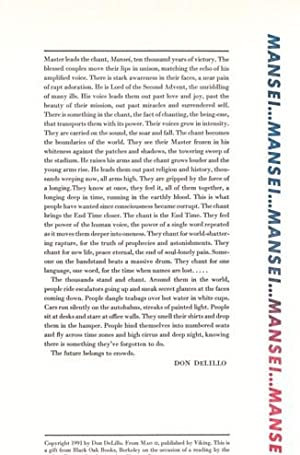 Mansei. Excerpt from MAO II: DeLillo, Don