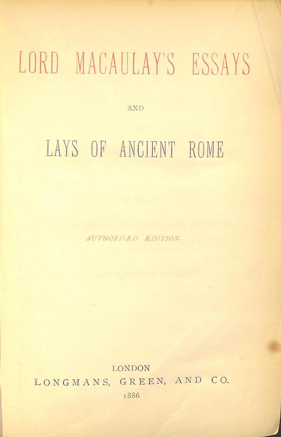 macaulays essays and lays of ancient rome by lord macaulay abebooks