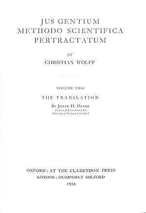 Jus gentium methodo scientifica pertractatum Volume II: Christian Wolff