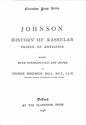 Johnson: History Of Rasselas - Prince Of: Birbeck Hill, G