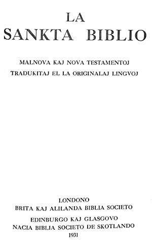 La Sankta Biblio : Malnova kaj Nova: Zamenhof, Ludwik Lazar