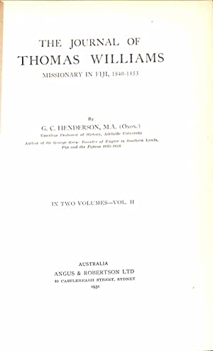 THE JOURNAL OF THOMAS WILLIAMS - MISSIONARY: HENDERSON, G C