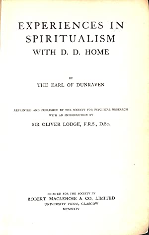 Experiences in spiritualism with D.D. Home: Dunraven, Windham Thomas