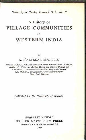 A History of Village Communities in Western: A. S. Altekar