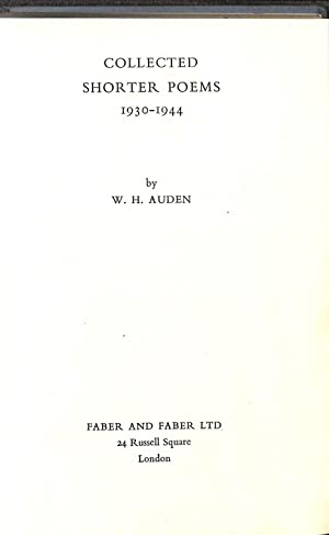 Collected Shorter Poems 1930-1944: Auden, W. H.