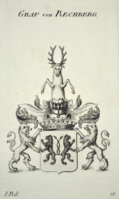 Kupferstich-Wappen von Tyroff. Graf von Rechberg.: Wappen, Württemberg, Rechberg