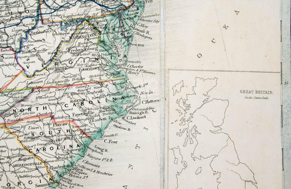 Engraved coloured map. The United States and the Relative Position ...