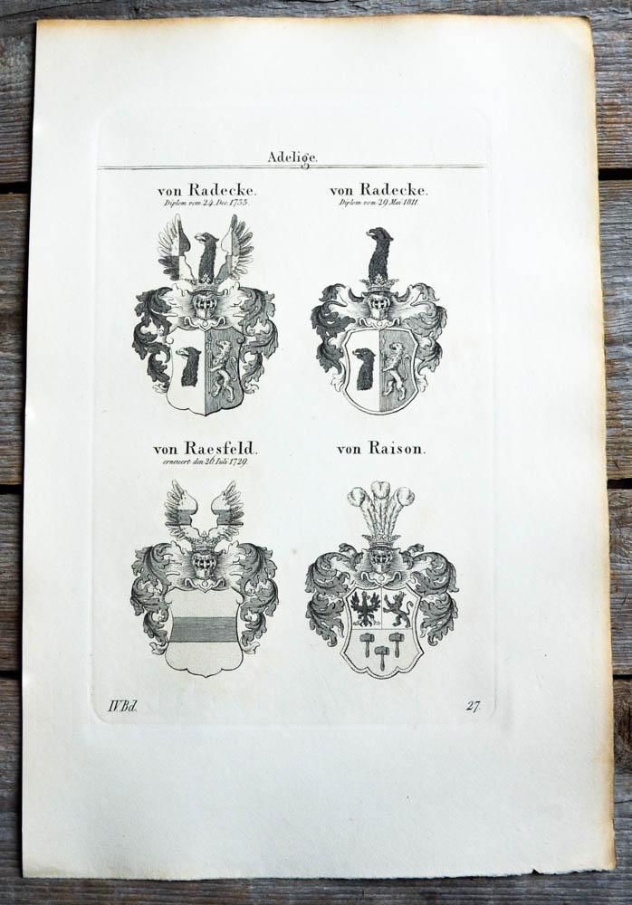 Kupferstich von Tyroff mit 4 Wappen und: Wappen, von Radecke,