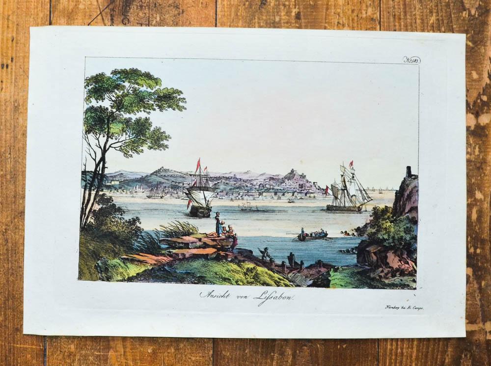 Kolorierte Kupferstich-Ansicht. Ansicht von Lissabon.: Lissabon, Lisboa, Portugal