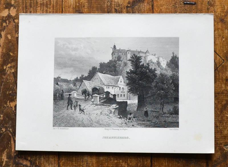 Stahlstich-Gesamtansicht von Huber nach Th. Blätterbauer. Johannisberg.: Janowa Gora, Johannisberg