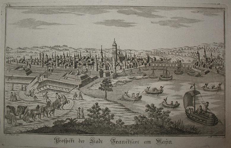 Kupferstich-Gesamtansicht von A. Sommer. Prospekt der Stadt: Frankfurt am Main