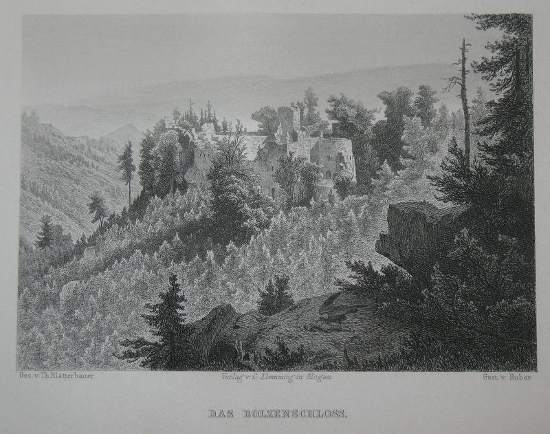 Stahlstich-Gesamtansicht von Huber nach Blätterbauer. Das Bolzenschloss.: Schlesien, Bolzenschloss, Bolzcow,