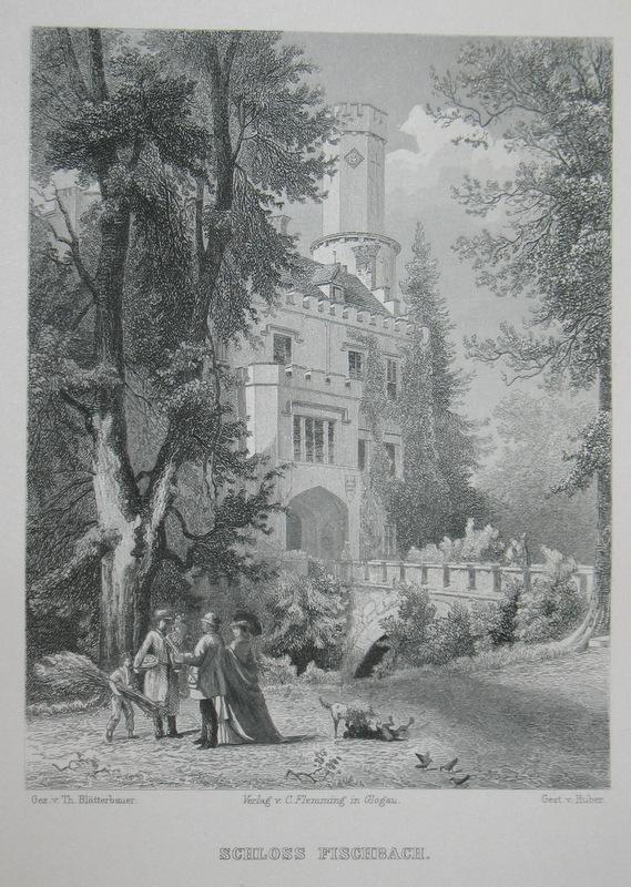 Stahlstich-Gesamtansicht von Huber nach Blätterbauer. Schloss Fischbach.: Schlesien, Fischbach, Karpniki,