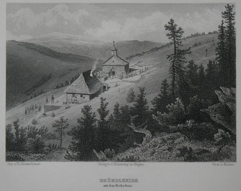 Stahlstich-Gesamtansicht von Huber nach Blätterbauer. Bründlheide mit: Schlesien, Bründlheide, Hockschar