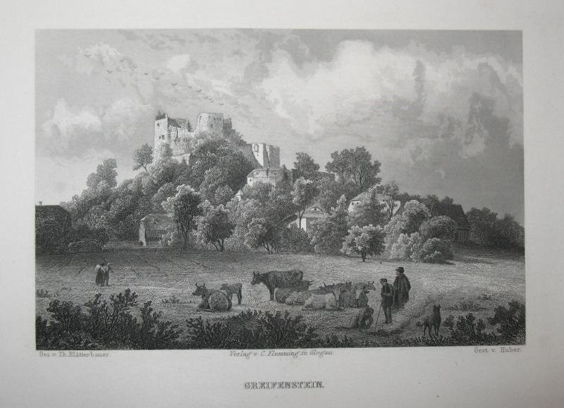 Stahlstich-Gesamtansicht von Huber nach Blätterbauer. Greifenstein.: Schlesien, Burg Greifenstein,