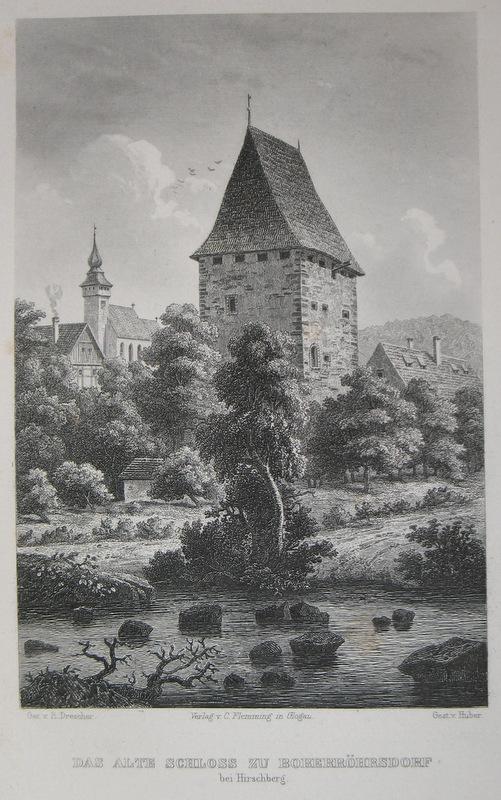 Stahlstich-Gesamtansicht von Huber nach Drescher. Das Alte: Schlesien, Boberröhrsdorf, Siedlecin