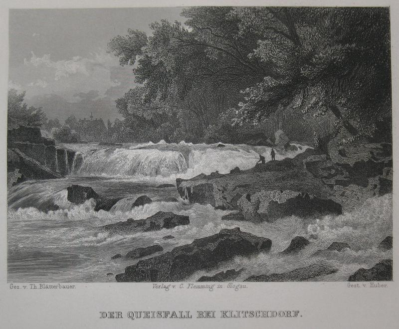 Stahlstich-Gesamtansicht von Huber nach Blätterbauer. Der Queisfall: Schlesien, Klitschdorf, Kliczkow,
