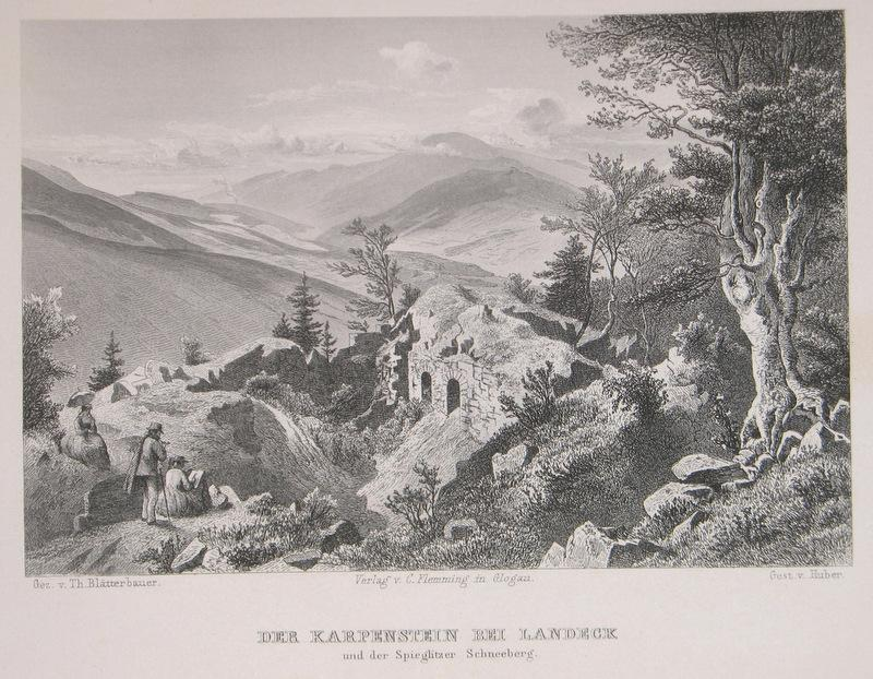 Stahlstich-Gesamtansicht von Huber nach Blätterbauer. Der Karpenstein: Schlesien, Ladek-Zdroj, Bad