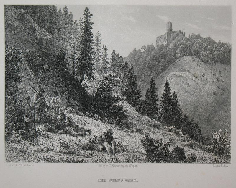 Stahlstich-Gesamtansicht von Huber nach Blätterbauer. Die Kiensburg.: Schlesien, Burg Grodno,